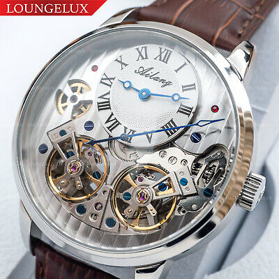 $ CDN155.93 • Buy Mens Double Flywheel Automatic Mechanical Watch Silver White Dial Brown Leather