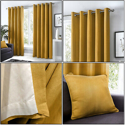 Ochre Mustard Eyelet Curtains 100% Cotton Plain Lined Ring Top Curtains Pair • 30.99£