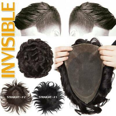 £32.10 • Buy Lace/PU Mens Toupee Skin Replacment System Hairpiece Real Virgin Human Hair Wig