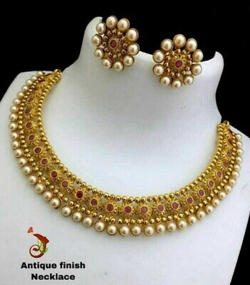 $15 • Buy Indian Delicate Gold Plated Bollywood Style Jewelry Bridal Necklace Earrings Set