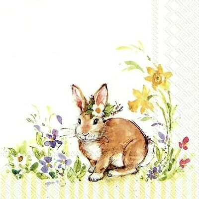 £1.39 • Buy 4 Lunch Paper Napkins For Decoupage Party Table Craft Vintage Lovely Bunny