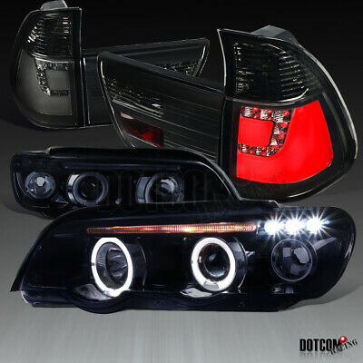 $334.40 • Buy BMW 2001-2003 E53 X5 Glossy Black Projector Headlights+Smoke Lens LED Tail Lamps