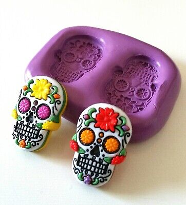 SUGAR SKULL Silicone Mould 25 Mm Cake Decorating Fimo Sugarpaste Polymer Clay • 5.90£