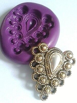 Silicone Ornate VINTAGE BROOCH Mould Cake Decorate Toppers Fimo Sugarpaste • 5.20£