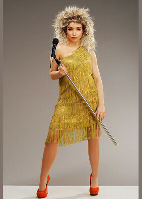 Womens 80s Tina Turner Style Costume With Wig • 43.49£
