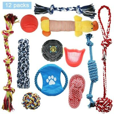 8/10/12/20 Dog Puppy Rope Toys For Playful & Teething Knots & Balls • 11.50£