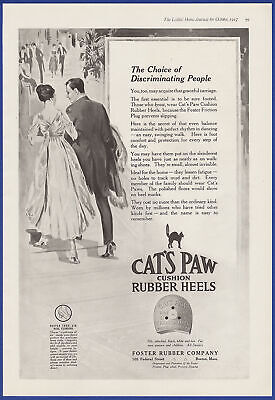 $11.40 • Buy Vintage 1917 CAT'S PAW Rubber Heels Shoes Foster Rubber Co. Boston MA Print Ad