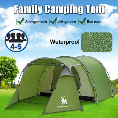 AU108.20 • Buy 4-5Person Family Camping Tent Hiking Traveling Dome Tunnel Waterproof Camp