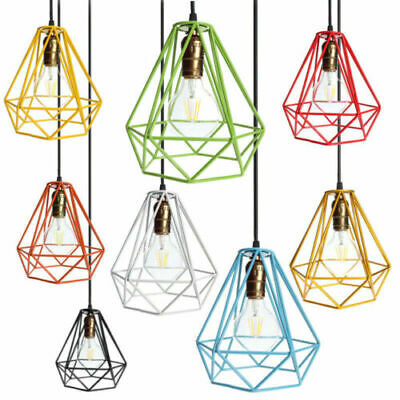 Industrial Geometric Light Shade Wire Cage Style Frame Ceiling Pendant Lampshade • 9.99£