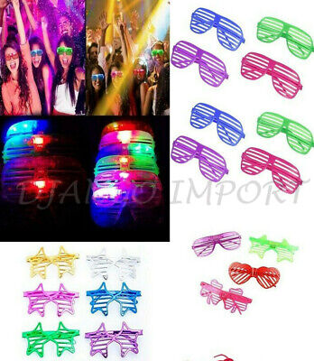 Shutter LED Glow Blinking Rave LED Glasses Light Up Flashing Glasses Party LOT • 2.39£