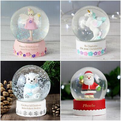 Personalised Girls Boy Unicorn Fairy Santa Snow Globe Birthday Christening Gift • 11.49£