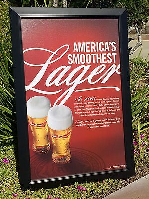$ CDN126.56 • Buy Budweiser Canvas Beer Bar Sign Pub Frame Mirror America's Smoothest Lager  New