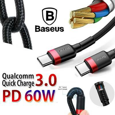 AU7.88 • Buy Baseus USB Type C To USB-C Cable QC3.0 60W PD Quick Charge Cable Fast Charging