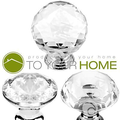 Dihl Globe Crystal Door Knobs Diamond Glass Clear Cabinet Drawer Wardrobe Handle • 3.69£