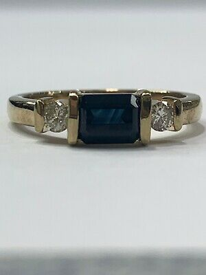 AU800 • Buy 9ct 9K Yellow Gold Natural Blue Sapphire And Diamond Ladies Ring. Brand New