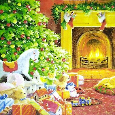 £2.53 • Buy 3 X Single Paper Napkins For Decoupage Craft Christmas Tree Next To Hearth N378