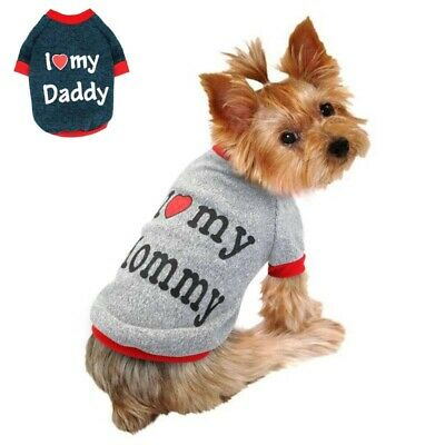 Small Cat For Pug Pet Sweater Clothes I Love Mummy/Daddy Jumper Puppy Dog • 2.89£