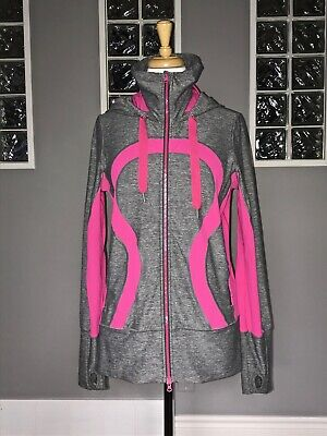 $ CDN70.40 • Buy Lululemon Stride Jacket 8 Heathered Gray Pink Euc Hooded Stride Rare