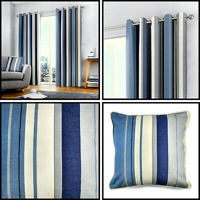 Blue Eyelet Curtains Navy Whitworth Stripe Lined Cotton Ring Top Curtain Pairs   • 20.99£