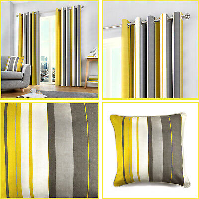Ochre Eyelet Curtains Yellow Mustard Whitworth Stripe Lined Ring Top Pairs  • 37.99£