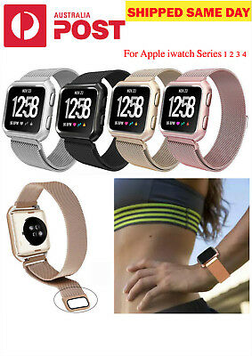 AU17.95 • Buy Milanese Magnetic Stainless Band Strap +Case Frame For Apple Watch Series 4 3 2