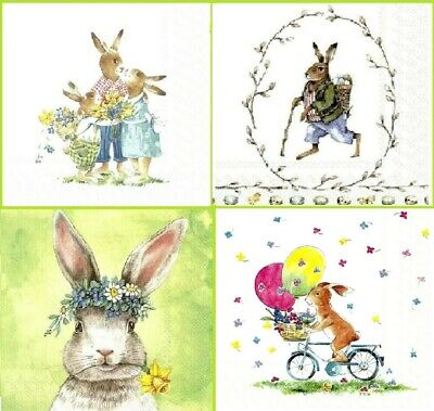£1.39 • Buy 4 Different Vintage Table Paper Napkins For Party Lunch Decoupage Rabbit, Easter