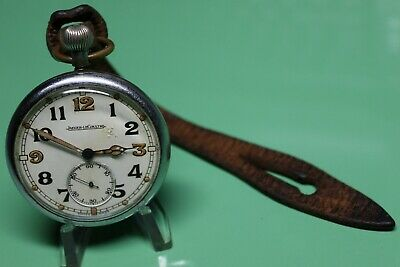 WW2 BRITISH ARMY Jeager-LeCoultre Pocket Watch & Leather Fob, Fully Serviced GWO • 280£