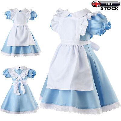 Kids Alice In Wonderland Girls Party Fancy Dress Maid Lolita Costume Cosplay UK • 12.99£