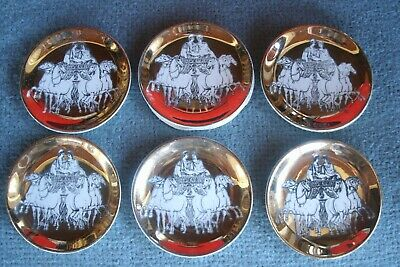 Vintage Fornasetti Milano Chariot Gold Plate Coaster Set Of 6 Saks Fifth Ave   • 53$