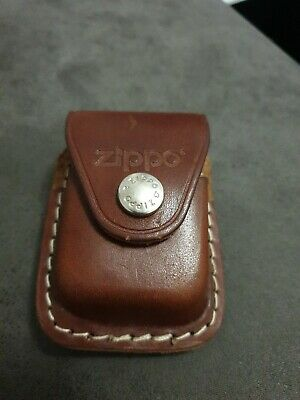 Zippo Genuine Leather Lighter Compact Pouch Press Stud Fastening Belt Loop Brown • 6.67$