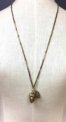 ALKEMIE Goldtone Acorn & Pine Cone Pendant Fashion Necklace • 50$