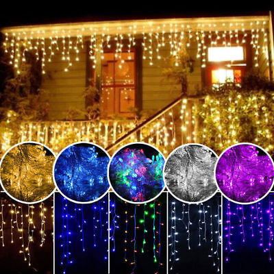 LED Fairy String Light Hanging Icicle Snowing Curtain Lamp Xmas Home Party Decor • 59.99£