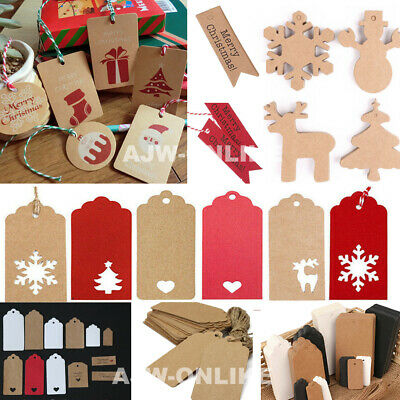 50PCS Christmas Kraft Paper Gift Tags Price Scallop Label Blank Luggage Wedding • 0.99£
