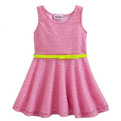 $14.79 • Buy Little Lass Girls Stripe Printed Bow Belted Pink Dress With Crochet Overlay Sz 4