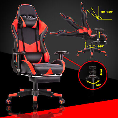 AU149.90 • Buy Executive Gaming Office Chair Racer Recliner Computer Chairs Racing Seat Black