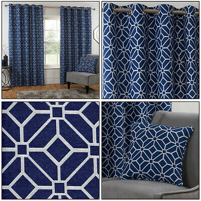 Navy Blue Eyelet Curtains Kelso Geometric Mosaic Lined Ring Top Curtains Pair • 34.99£