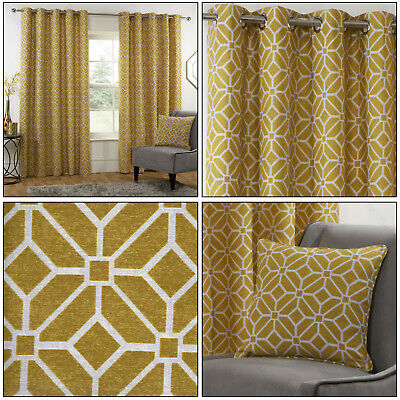Ochre Mustard Eyelet Curtains Kelso Geometric Fully Lined Ring Top Curtains Pair • 19.99£