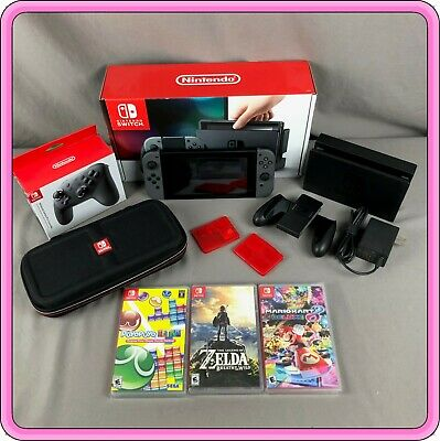 Nintendo Switch Gray Console Bundle With Games. 32GB - 4.0.1 Firmware. • 340$