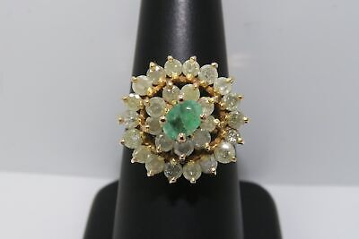 $399.95 • Buy 18K SOLID GOLD ~ 1.50 Carat Natural EMERALD & DIAMOND Large Round Flower Ring