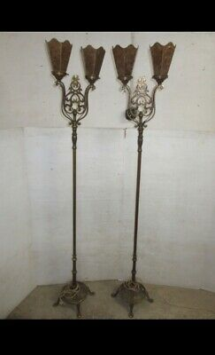 $3500 • Buy Awesome Pair Antique 1910 Floor Lamps Gothic Art Deco Hammered Brass Mica Shades