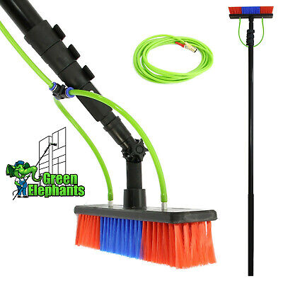 20FT Extendable Pole Water Fed Telescopic Hose Wash Brush Window Cleaner • 188£