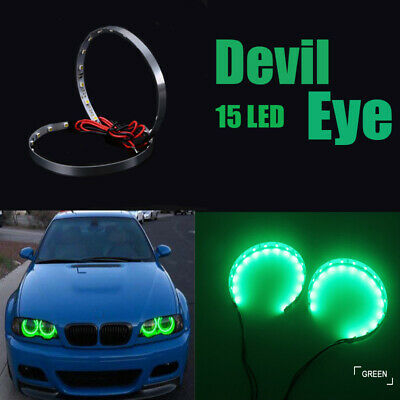 $4.99 • Buy Pair Green LED Lights Devil Eyes Demon Eye Auto Headlight Projector Lens Rings
