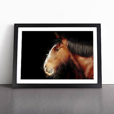 Brown Shire Horse In Abstract Animal Framed Picture Print Home Décor Wall Art • 18.95£