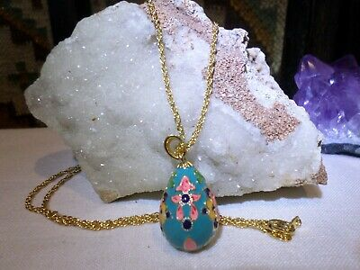 Joan Rivers Faberge Romania Turquoise Pink Flower Egg Pendant Necklace • 5.99$