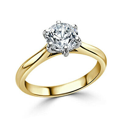 AU654.93 • Buy Women's Diamond Engagement Ring Solitaire 2.00 Ct 18K Yellow Gold Size M N O P Q