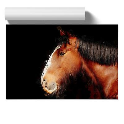Brown Shire Horse In Abstract Wall Art Poster Print Animal • 12.95£