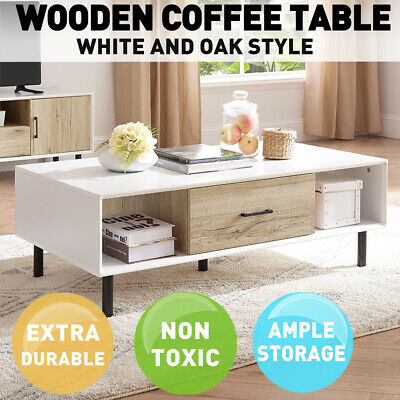 AU99.99 • Buy Wooden Coffee Table Shelf Storage Drawer Tables Tabletop Modern Home Furniture