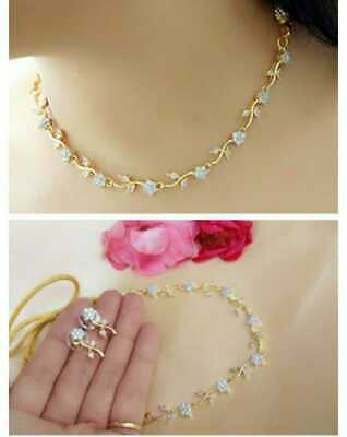 $19.99 • Buy Bollywood Indian Style CZ AD Wedding Gold Delicate Jewelry Necklace Earrings Set
