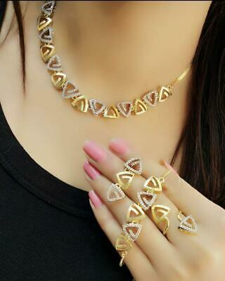 $19.99 • Buy Bollywood Style Indian CZ AD Wedding Gold Delicate Jewelry Necklace Earrings Set