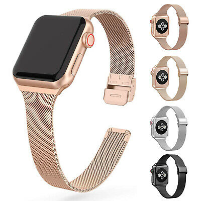 $ CDN12.77 • Buy For Apple Watch Series 5 4 3 2 1 Slim Stainless Steel Band IWatch 38 40 42 44 Mm
